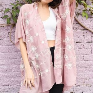 Pink Sheer Floral Kimono White Stitching